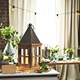 Set of 2 Dover Rustic Tin Wooden Lantern with Warm White LED Ivory Candle, Batteries Included, Remote Control Included, Timer and Dimmable Options, For Indoor and Outdoor Application