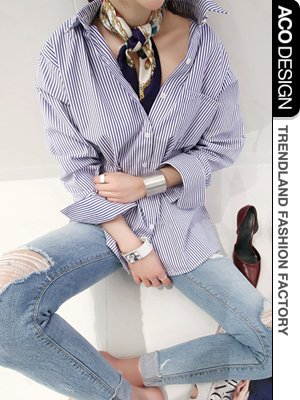 (ナンニング9)Naning9 ストライプシャツ レディス ストライプ シャツ ロングシャツ 大きい ストライプ柄 シャツワンピース 大きいサイズ ブルー