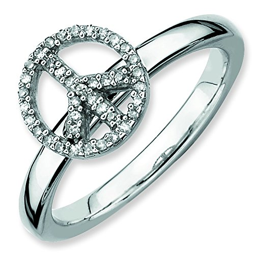 Sterling Silver Stackable Expressions Peace Symbol Rough Diamond Ring - Ring Size Options Range: J to T