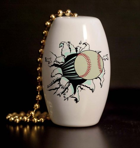 Baseball Punch Out Porcelain Fan / Light Pull front-992076