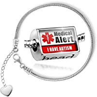 Charm Set Medical Alert Red I Have Autism - Bead comes with Bracelet , Neonblond from NEONBLOND