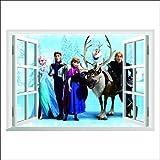 Topro Disney's Frozen Elsa Anna Olaf Kristoff Sven Hans 3D Window Wall Art ... by Topro