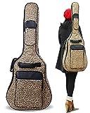(ラクエスト) Laquest ヒョウ柄 レオパード 背負える アコギ ギグバッグ リュック タイプ 2WAY ソフト ギター ケース アコースティック クラッシック ギター 保護 運搬