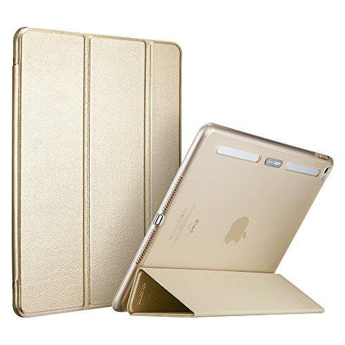 iPad Mini4 ケース クリア ESR iPad Mini4 カバー レザー PU スタンド機能 軽量PCバック/TPUバンパーケース 傷つけ防止 オートスリープ三つ折タイプ iPad Mini4(第四世代)専用スマートカバー(シャンパンゴールド)