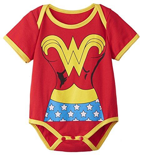 A&J Design Baby Girls' Wonder Woman Short Sleeve Onesie