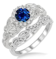 buy 1.25 Carat Sapphire And Diamond Vintage Floral Bridal Set Engagement Ring On 10K White Gold