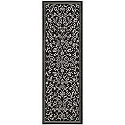 Safavieh Courtyard Collection CY2098-3908 Black and Sand Indoor/ Outdoor Runner, 2 feet 3 inches by 12 feet (2\'3\