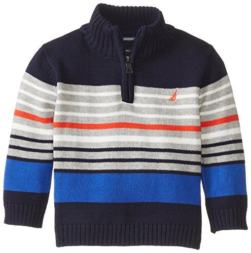 Nautica Babys Infant Long Sleeve Multi Stripe Sweater, Navy, 12 Months front-1010014