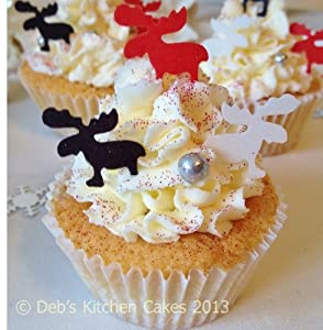 Edible Christmas Cake Images : Christmas Cake Decorations - Edible Wafer Reindeers ...
