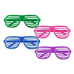 12 Pairs Of Plastic Shutter Glasses Shades Sunglasses Eyewear Party Props Neon Colors By Super Z Outlet