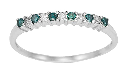 Kareco 9ct White Gold Blue And White 1/4 Carat Diamond 1/2 Eternity Ring