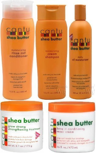Cantu Shea Butter 5pcs Set (Shampoo, Conditioner, Grow Strong Strengthening Treatment, Oil Moisturizer, and Leave in Conditioner) Plus 1 Free of Apple EYE Pencil Color: Grey (Cantu Shea Butter Conditioner compare prices)