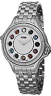 Fendi Crazy Carats Ladies White Dial Stainless Steel Diamond Swiss Made Gemstone Watch…