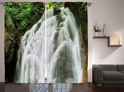 Ambesonne Waterfall Decor Collection, Surprise Waterfall in Jungle Shrubs Water Splashes Pattern, Window Treatments, Living Room Bedroom Curtain 2 Panels Set, 108 X 90 Inches, White Green