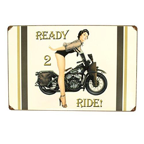 U.S. WW2 Vintage Metal Sign: 1943 Harley-Davidson Pinup