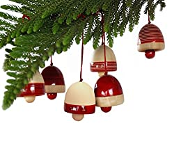 Maya Organic Handcrafted Wooden Christmas Décor : BELLS - Red (set of six)