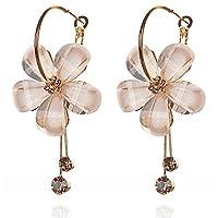 Zephyrr Fashion Hanging Hoop Earrings Flower White Stone for Women
