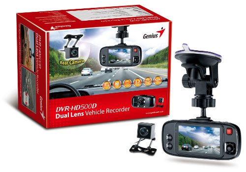 Genius DVR-HD 500D Digital Video HD Recorder for Vehicle, Dash Camera with Dual Lens for Both Front and Back