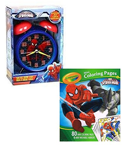 Ultimate spiderman twin bell alarm clock bundle with for Crayola ultimate spiderman mini coloring pages