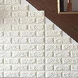 レンガ タイル ブロック 壁紙 壁用 おしゃれ リフォーム 模様替え 壁紙 ブロックシート ブリックタイル タイル フォームブリック アクセントクロス 3D 立体壁紙 クッション壁紙 板壁 軽量 リビング 子供部屋 ウォールステッカー DIY のり付き カラー:ホワイト:(qb-001)