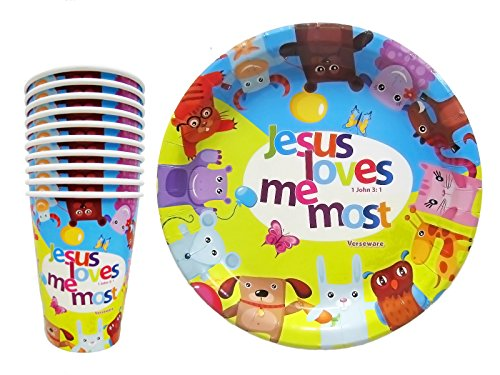 Christian-Religious-Tableware-Paper-Plates-and-Cups-For-Kids-Birthday-Party-Lunch-Dinner-Nursery-or-First-Birthday-Jesus-Loves-Me-Most-20-Piece-Set-10-Plates-10-Cups
