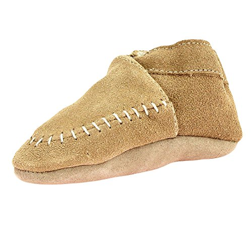 Robeez Suede Moccasin Crib Shoes with Sherpa Lining Unisex Taupe Beige 12-18 Mth (Zapatos Good Year compare prices)