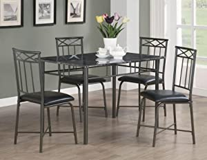 5pc Dining Table And Chairs Set With Faux Marble Top In Black Fi