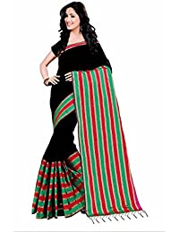 Macube Women's Cotton Polyester Silk Black Color Designer Sarees New Collection 2017 With Blouse Piece