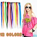 "KingMas 12 Pcs 24"" Colored Colorful Clip On In Hair Extension"
