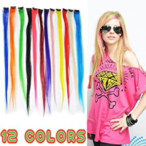 "Kingmys 12 Pcs 24"" Colored Colorful Clip On In Hair Extension"