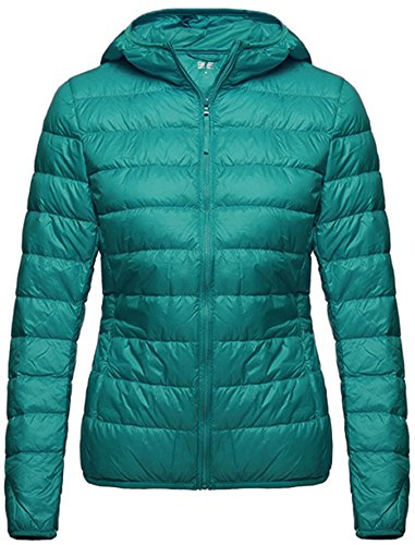 Wantdo Women's Hooded Packable Ultra Light Weight Down Coat Short Outwear(Green,US X-Large) (Ladies Winter Coats With Hoods compare prices)