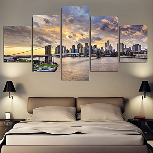 5-piece-brooklyn-bridge-landscape-home-wall-decor-canvas-picture-art-hd-print-oil-painting