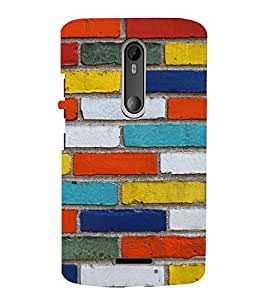 Multicolor Bricks Cute Fashion 3D Hard Polycarbonate Designer Back Case Cover for Motorola Moto X Style :: Moto X Pure Edition