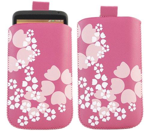 iTALKonline ROSA BLUME Qualität Rutsch Pouch Case Schutzhülle mit Pull Tab - Nokia Lumia 610