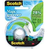 Scotch Magic Greener Tape with 2-Piece Dispenser, 3/4 x 600 Inches, 1 Roll (123)