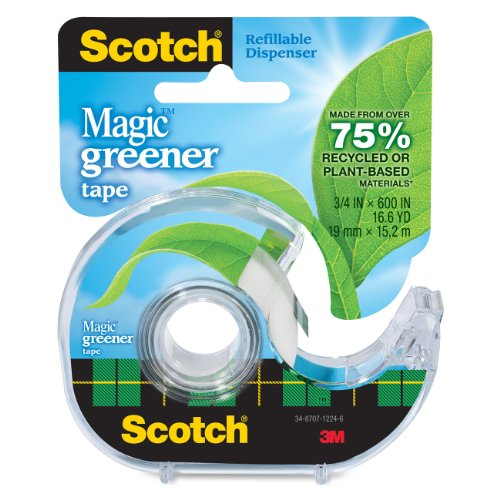 Image of Scotch Magic Greener Tape with 2-Piece Dispenser, 3/4 x 600 Inches, 1 Roll (123)