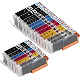 18 Pack - Compatible Ink Cartridges for Canon PGI-250 & CLI-251 XL Inkjet Cartridge Compatible With Canon PIXMA MG-5450 MG-5520 MG-6320 MG-6350 MG-6420 MG-7120 MG-7150 iP7250 iP8720 iP8750 (3 Large Black, 3 Small Black, 3 Cyan, 3 Magenta, 3 Yellow, 3 Gray) Ink & Toner 4 You ®