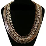Gold 25 Inch Adjustable 3 Row Box Chain, Iced Out Links and Chevron Style Link Necklace
