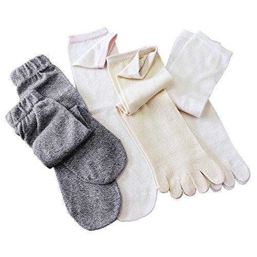 冷えとり靴下 シルク&コットン 5本指ソックス 【重ねばき専用 4足セット】 日本製 正絹 綿 杢グレー