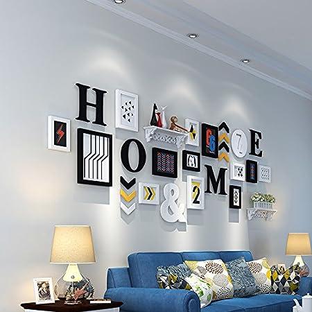 Marco de fotos HJKY pared conjunto alto polímero de estilo europeo irregular creativa foto pared para sala de estar, dormitorio, comedor,en blanco y negro