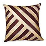 OBLIQUE DESIGN CUSHION COVER BROWN & BEIGE 1 PC (40 X 40 CMS)