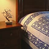 Midnight Lotus ~ Blue Asian Style Oriental Floral King Bedspread