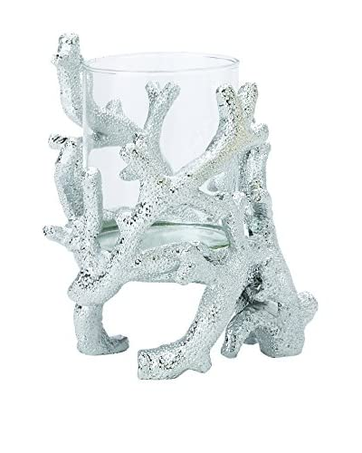 Torre & Tagus Tall Coral Crown Candleholder, Silver