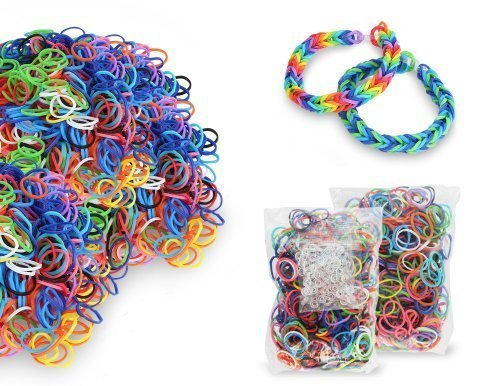 Chromo Inc® Starburst Loom Band 2400 Pack. 2,400 Xtra Strength Latex Free Loom Bands and 100+ S-Clips - 1