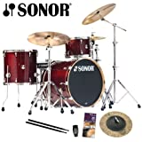 Sonor Session Maple Transparent Red 3-Piece Drum Kit - Sabian Radia Cup Chime Included with Purchase