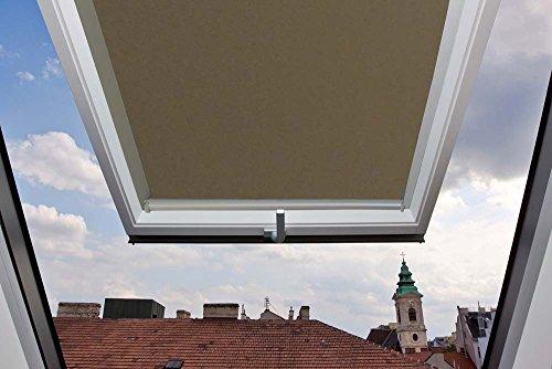 Für Velux Fenster GGU / GGL / GPU / GPL / GHU / GHL / GTU / GTL / GXU / GXL 804 Dachfensterrollo, Verdunkelungsrollos in Hellbraun - 134x98cm (Breite x Länge) - mit seitlichen Führungsschienen aus Aluminium