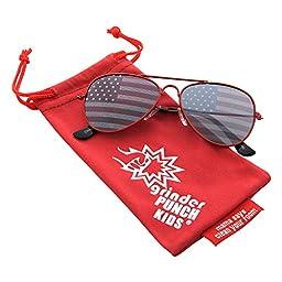 grinderPUNCH® KIDS Children\'s American Flag Aviator Sunglasses Red