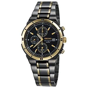 Seiko Watches for Men: SNAA30 Alarm Chronograph Black Ion Watch