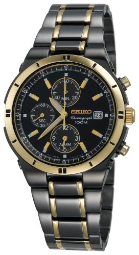 Seiko Men's SNAA30 Alarm Chronograph Black Ion Watch