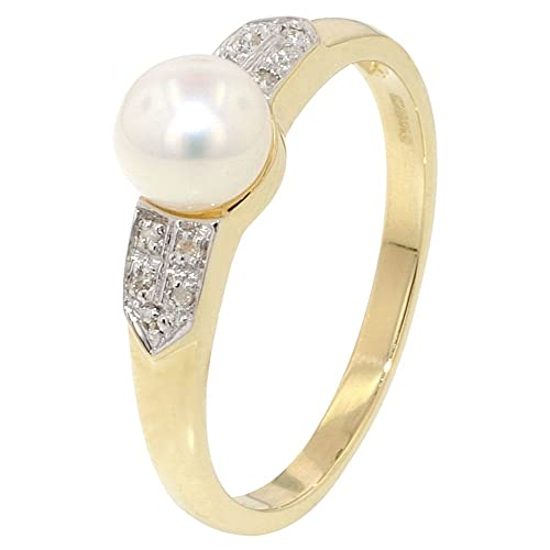 Diamond Shoulders Pearl Ring